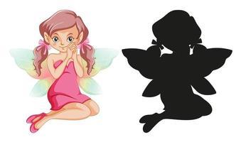 set sprookjesfiguren en zijn silhouet op witte achtergrond vector