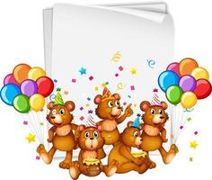 papieren sjabloon met schattige dieren in feestthema op witte achtergrond vector