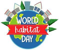 wereldhabitat dag pictogram logo met steden of stad op wereldbol