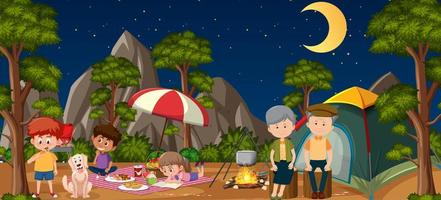picknickscène met gelukkige familie in het bos vector