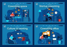 coworking space, platte bestemmingspagina's ingesteld vector