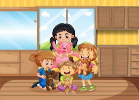 kinderen spelen in de woonkamer vector