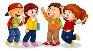 groep jonge kinderen stripfiguur op witte achtergrond