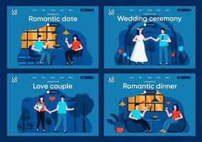 romantische date, platte bestemmingspagina's ingesteld vector