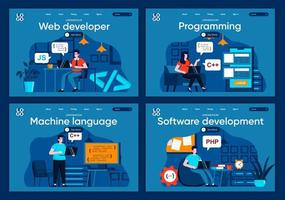 softwareontwikkeling, platte bestemmingspagina's ingesteld vector