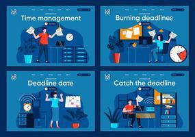 haal de deadline, platte bestemmingspagina's ingesteld vector