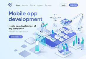 ontwikkeling van mobiele apps, isometrische bestemmingspagina vector