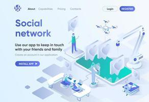 sociaal netwerk isometrische bestemmingspagina vector