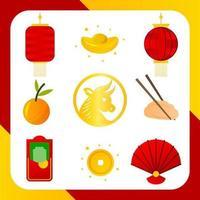 eenvoudige chinees nieuwjaar icoon collectie