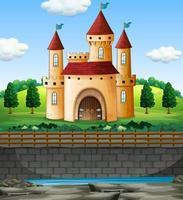 scène met kasteel op de muur