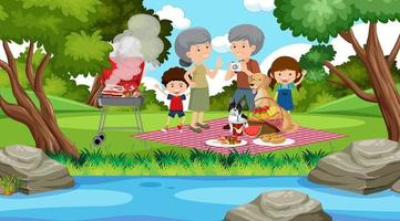 picknickscène met gelukkige familie in de tuin vector