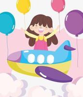 gelukkig klein meisje in een vliegtuig met ballonnen vector
