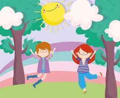 kleine jongen en meisje springen in het park vector