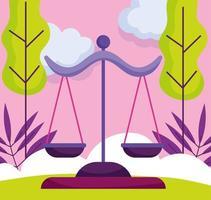 recht en rechtvaardigheid schaal cartoon