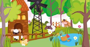 schattige dieren in een boerderij vector