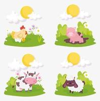 set van schattige boerderijdieren vector