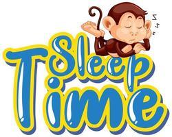 stickerontwerp voor woord slaaptijd met aap slapen