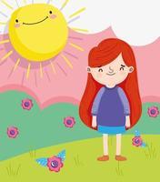 klein meisje buitenshuis vector