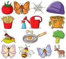 groot aantal verschillende dieren en andere objecten op witte achtergrond