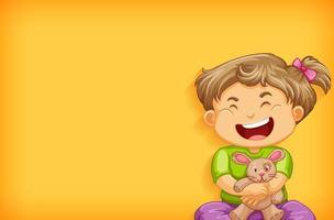achtergrond sjabloonontwerp met gelukkig meisje en konijnpop