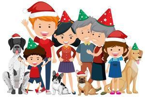 geïsoleerde gelukkige familie die kerstmis viert vector
