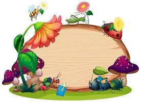 rand sjabloonontwerp met insecten op de tuinachtergrond