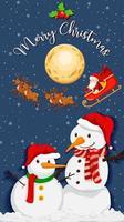 twee sneeuwpop met vrolijk kerstfeest lettertype 's nachts vector