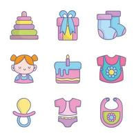 baby shower kleding speelgoed accessoires iconen collectie vector