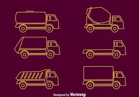 Vrachtwagens Line Collection Vector