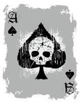grunge spade schedel speelkaart vector