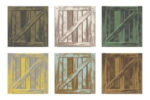 kleurrijke set houten kisten vector