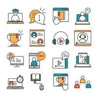online onderwijs pictogramserie vector