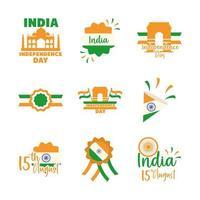 India onafhankelijkheidsdag icon set