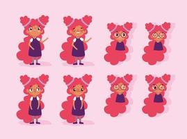 cartoon animatie meisje karakter gezichten en lichamen vector