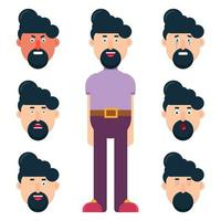mannelijk karakter met verschillende geplaatste gezichtsemoties