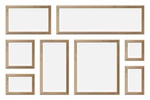 set van lege realistische houten fotolijsten