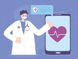 online medische zorg met arts en smartphone vector