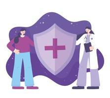 arts en patiënt die een medisch schild houden vector