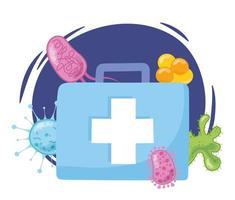 EHBO-doos met virussen en bacteriën vector