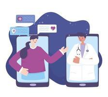 online medische zorg met arts op de smartphone vector