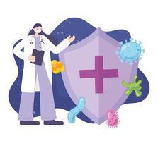 vrouwelijke arts met gezichtsmasker, verspreiding van het coronavirus vector