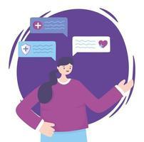 vrouw praten over medische onderwerpen vector