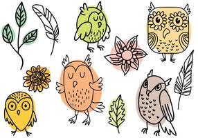 Hand Getrokken Natuur en Owl Vectoren