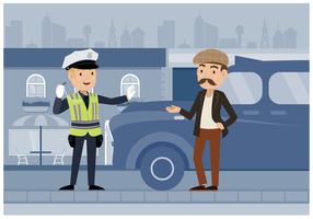 Gratis Illustratie Politieagent van het verkeer Vector