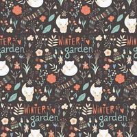 naadloze patroon met wintertuin bloemen vector
