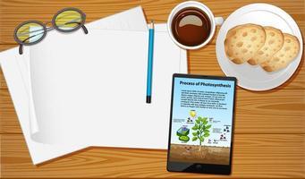 tafel luchtfoto met mockups voor mobiel scherm