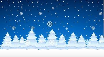 scène met sneeuwt op de pijnbomen vector
