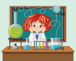 student in de wetenschapsklas die met hulpmiddelen werkt vector
