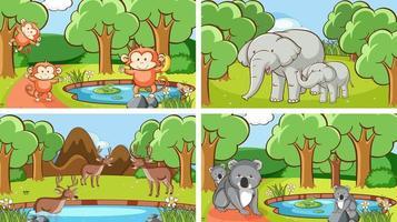 achtergrondtaferelen van dieren in het wild vector