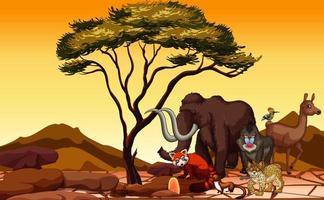 scène met veel dieren in het veld vector